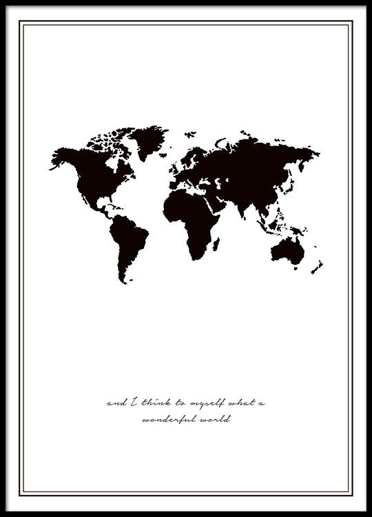 poster met wereldkaart | zwart-wit posters online - desenio