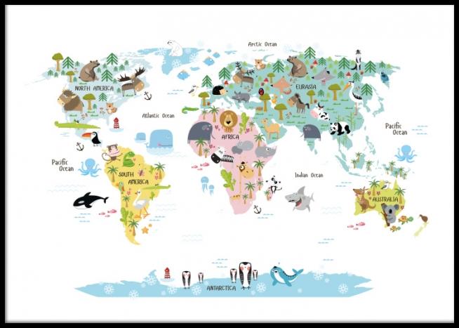 kinder poster met wereldkaart met dieren. mooie posters en prints