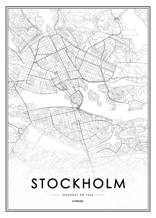 Stockholm City Map, Poster / Zwart wit bij Desenio AB (8178)