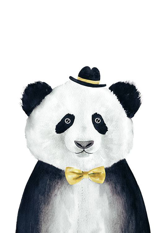 Panda With Hat, Poster / Kinderposters bij Desenio AB (8234)