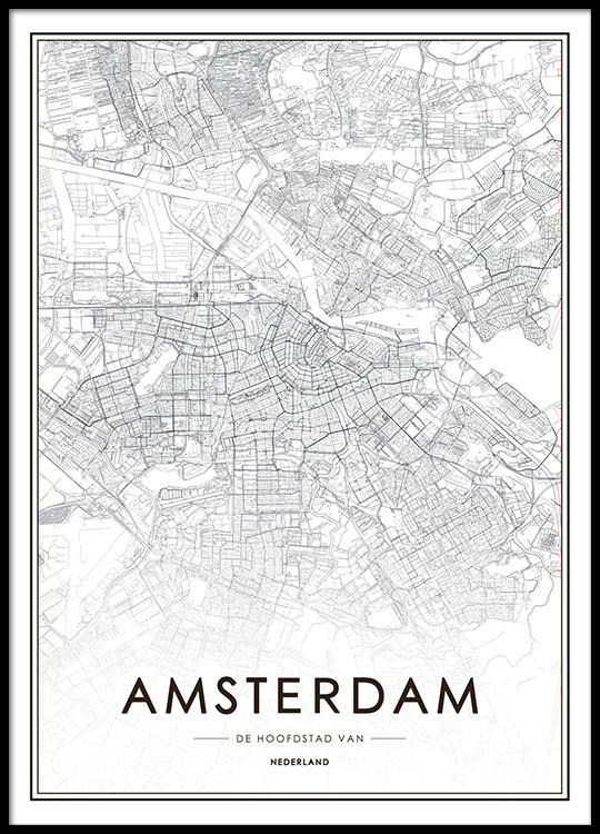 Magnifiek Poster met Amsterdam kaart | Posters en prints met steden @RY51