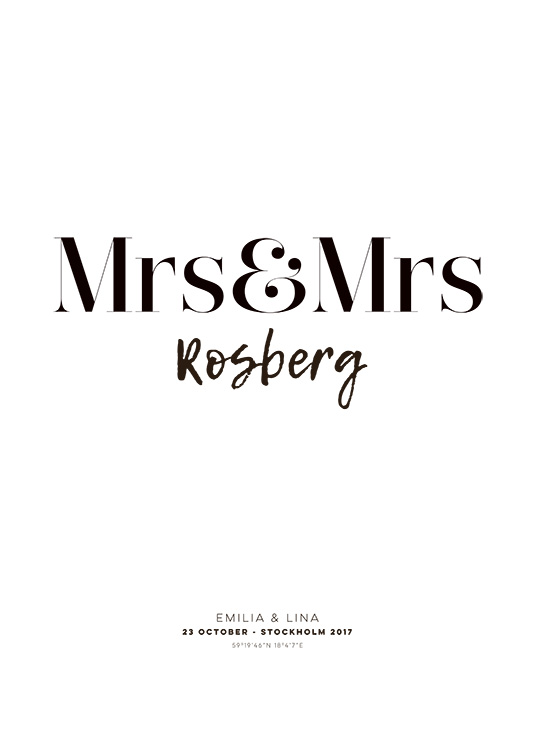 Mrs and Mrs Personal Poster / Gepersonaliseerde posters bij Desenio AB (pp0012)
