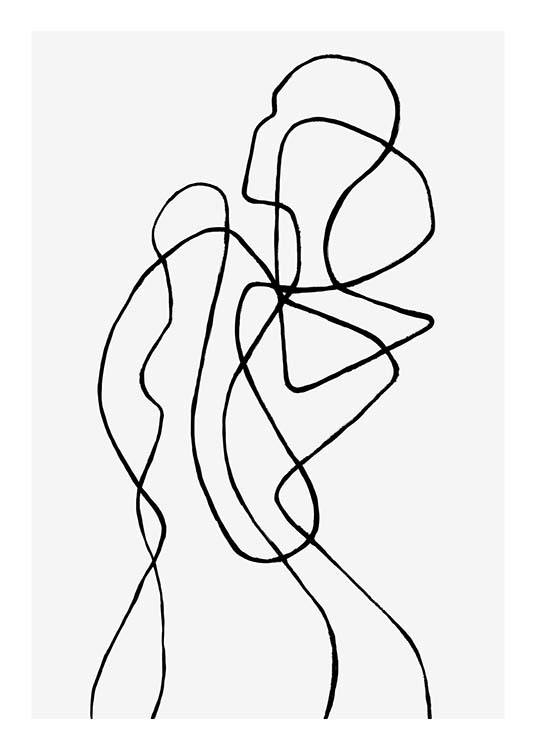 – Line art van een abstract lichaam