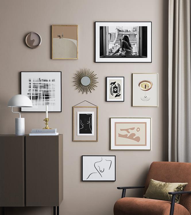 foto's aan de wand afwisselen met posters en andere woondecoratie voor een mooie en unieke fotomuur.